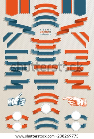 Big set classic ribbons with 2 hands. Eps 10 vector file.
