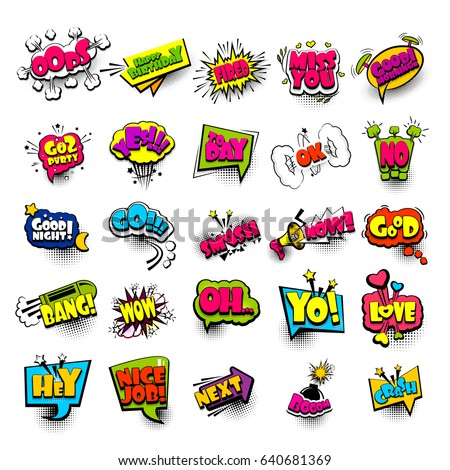 Big set colored comic book text sound effects pop art style bullhorn, megaphone. Collection vector bubble icon speech phrase, cartoon font label, sounds illustration background. Dot halftone balloon. #640681369