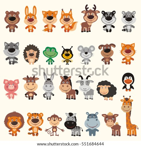 Big set different funny animals. Vector collection isolated animals in cartoon style. Cute animals smile.