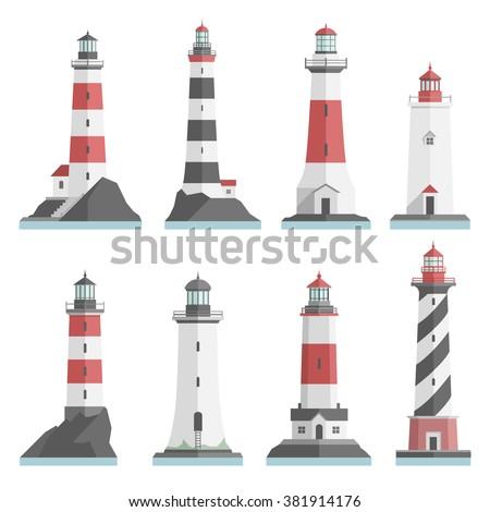big set flat lighthouses