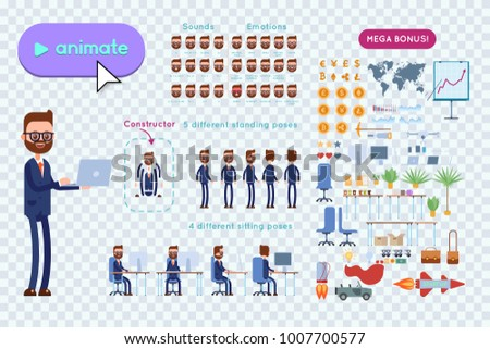 Big set for animating business advertising. Bearded businessman with glasses in costume holds a laptop in his hands. On a transparent background #1007700577