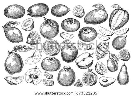 big set fresh fruit  hand