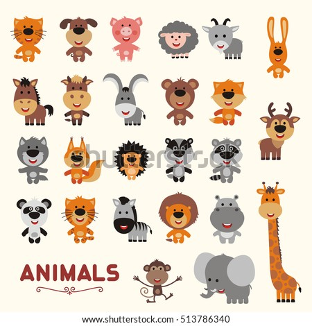 Big set funny animals. Vector collection isolated animals. Cute animals: forest, asia, africa, farm, domestic in cartoon style.