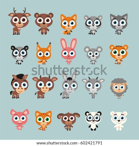 Big set funny animals with big eyes. Vector collection isolated animals in cartoon style.