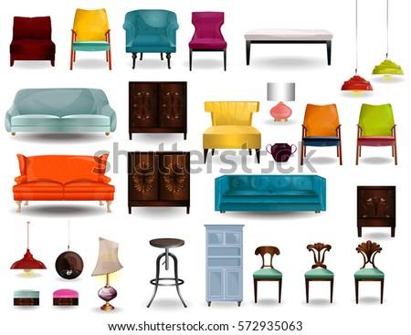 big set furniture 3d vector