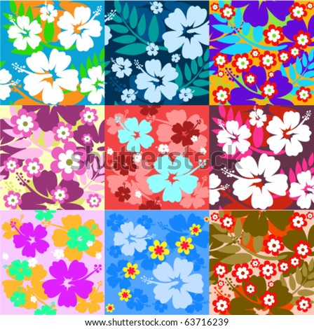 Big set Hibiscus flower seamless Background