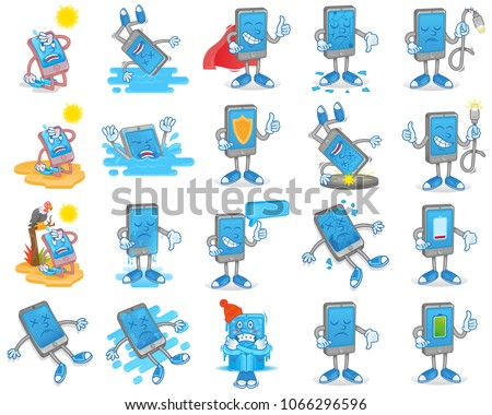 Big set icon with different smartphone gadget tablet mobile problem and situation   happened with phone need help clean repair service support fix Modern illustration flat design cartoon character