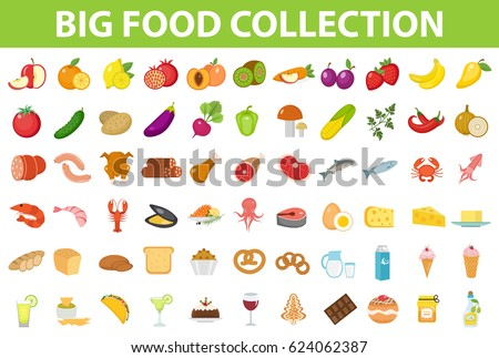 Big set icons food, flat style. Fruits, vegetables, meat, fish, bread, milk, sweets. Meal icon isolated on white background. Ingredients collection. Vector illustration