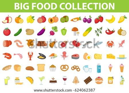 big set icons food  flat style