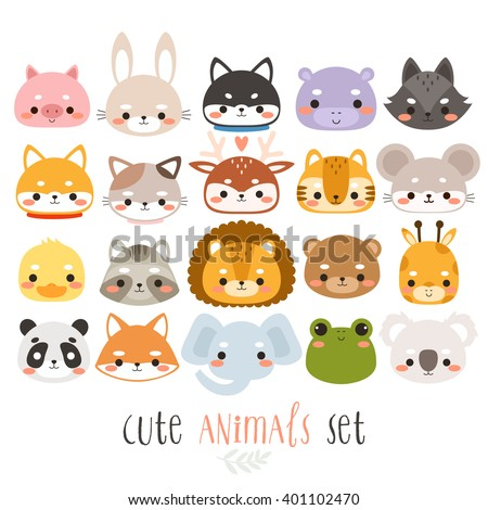 big set illustrations of cute cartoon animals. can be used for cards, birthday invitations or like stickers