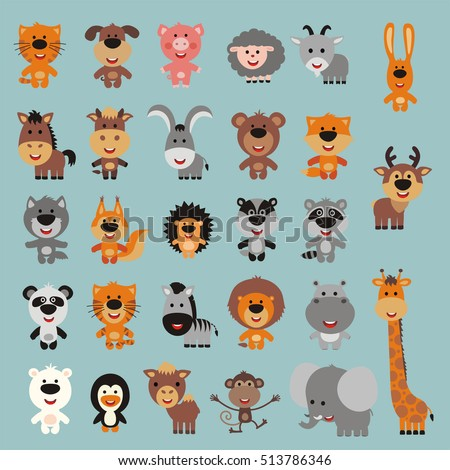 Big set isolated animals. Vector collection funny animals. Cute animals: forest, asia, africa, farm, domestic, polar in cartoon style.