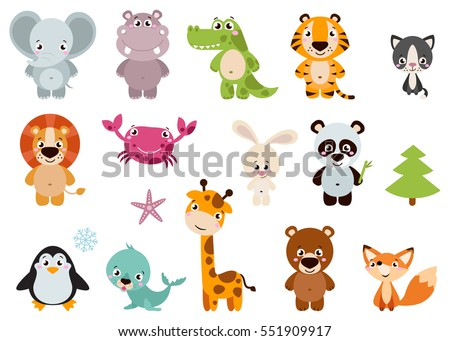 Big set isolated animals. Vector collection funny animals. Cute animals: forest, farm, domestic, polar in cartoon style. Giraffe, elephant, crab, rabbit, fox