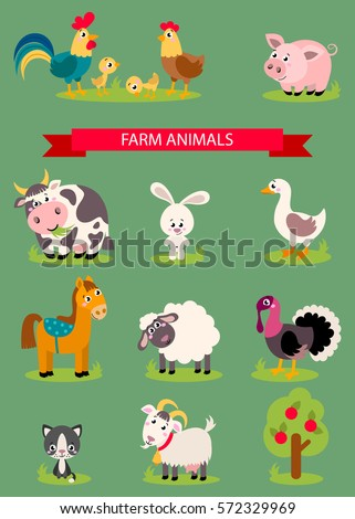big set isolated farm birds