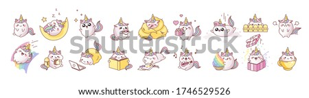 Big set kit collection vector isolated illustration cute unicorn kawaii cartoon japanese style Emoji character sticker emoticon smile emotion mascot