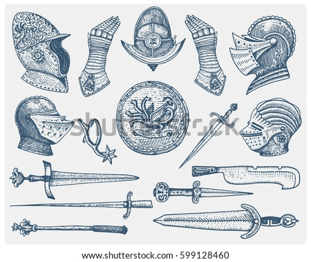 big set medieval symbols ...