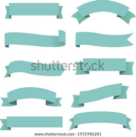Big Set Mint Ribbon Isolated Transparent With Gradient Mesh, Vector Illustration