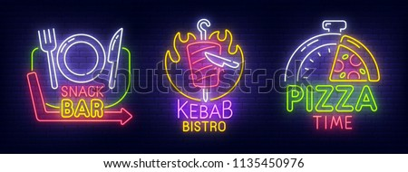 Big set neon billboard, theme Fast Food. Snak Bar, Kebab cafe and Pizza Time neon sign, isolated sticker, bright signboard, light banner. Vector illustration
