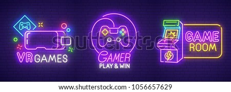 Big set neon sing. Game room label and logo. Gamer banner, emblem and label. Bright signboard, light banner. Vector illustration