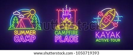 Big set neon sing. Summer camping label and logo. Kayak banner, logo, emblem and label. Bright signboard, light banner. Vector illustration