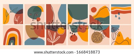 Big Set of Abstract backgrounds. Hand drawn doodle various shapes, leaves, face, spots, drops. Contemporary modern trendy Vector illustrations. Every background is isolated. Pastel colors