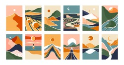 Big set of abstract mountain landscape banner collection. Trendy flat collage art style backgrounds of diverse vintage travel scenery. Nature environment, coast biome, multicolor hills, desert dunes.
