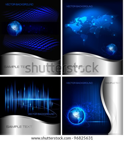 Big set of abstract technology and business backgrounds. Vector illustration.