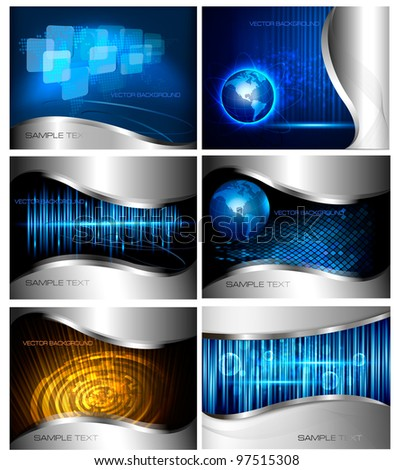 Big set of abstract technology and business backgrounds. Vector illustration