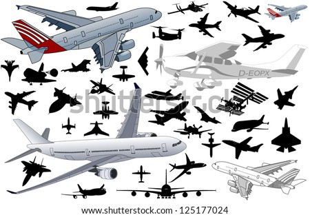 big set of airplanes in vector