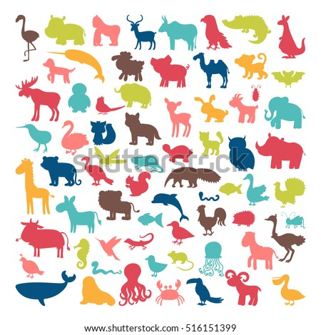 Big set of animals silhouettes in cartoon style. Wild life. Vector illustration