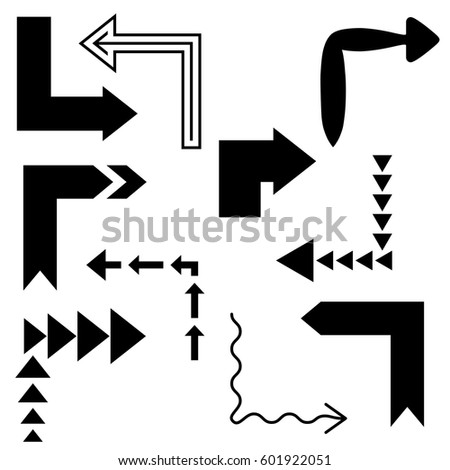 Big set of arrows for design interface. Black isolated on white background. Vector illustration.