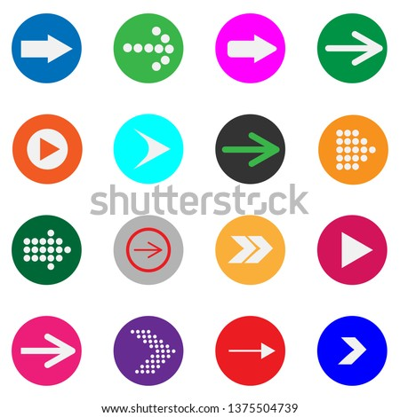 Big set of arrows with different shapes and background colors #1375504739
