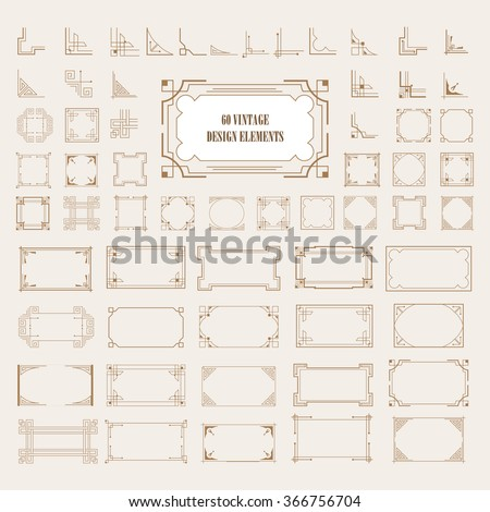 Big Set of Art Deco Frame, Elegant Border, Flourishes Corner Elements. Vintage  Calligraphic Ornaments