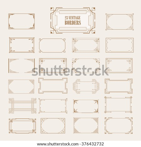 Big Set of Art Deco Western Frame, Elegant Border, Flourishes Corner Elements. Vintage  Calligraphic Ornaments