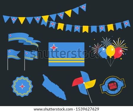 Big set of Aruba ribbons, symbols, icons and flags isolated on a dark background, Made in Aruba, 1st of January. Vector symbolism, premium quality, set for your infographics, and templates