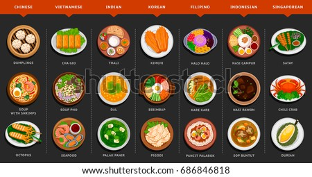 Big set of asian food. Vietnamese, Korean, Indonesian, Indian, Chinese, Filipino, Singaporean cuisine. Various food dishes. Vector flat illustration.