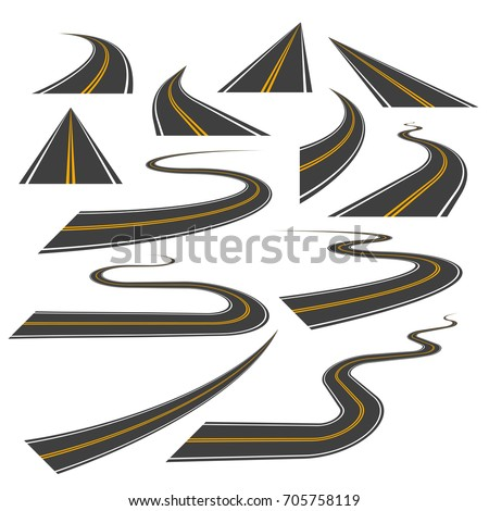 Big set of asphalt road curves, turns, bankings, and perspectives. Bending road, highway or roadway vector illustration. Collection of winding road design elements with white and yellow markings.