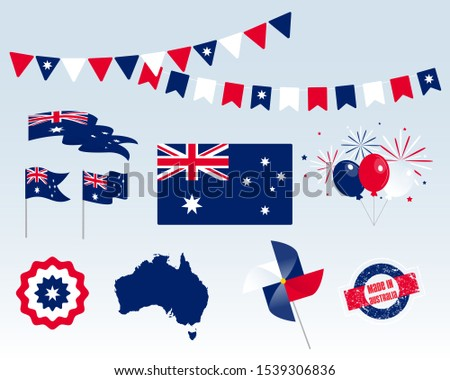Big set of Australian ribbons, symbols, icons and flags isolated on a white background, Made in australia, January 26th. Vector symbolism, premium quality, set for your infographics, and templates