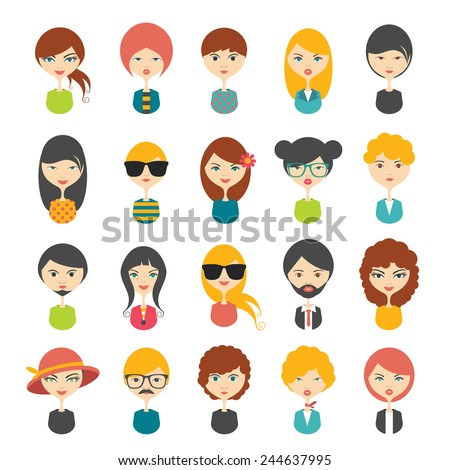 big set of avatars profile