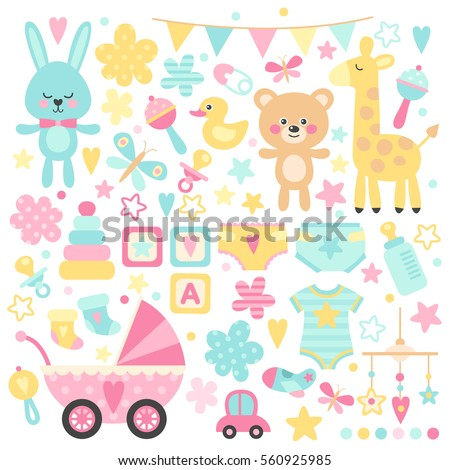 big set of baby shower  vector