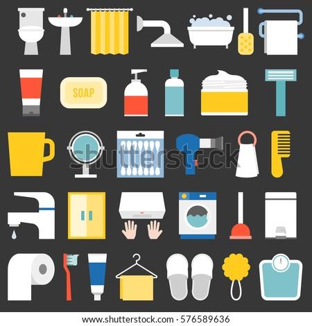 big set of bathroom item and facilities icon, flat design vector