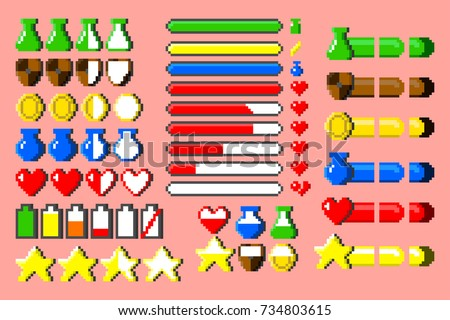 Big set of 8-bit elements, life bar, progressor, stamina, power, energy, mana level, money reserve vector illustrations. Retro, 8-bit style, pixel elements for nerd and classical game themed designs.