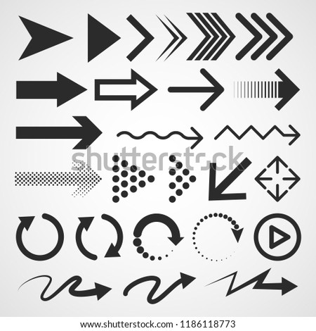 Big set of black arrows. Vector illustration. Arrows collection isolated on light background.