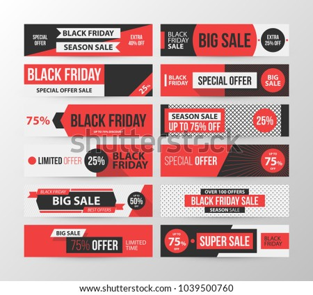 Big set of Black Friday web banners in retro black and red style on gray background