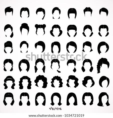 big set of black hair styling