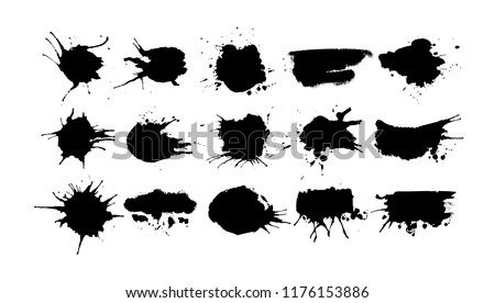 Big set of black ink splashes and drops of different shapes made with brush. Blobs and spatters. Isolated vector illustration