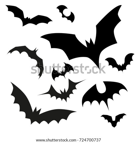 Big set of black silhouettes of bats