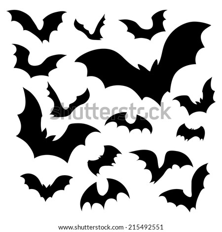 big set of black silhouettes of