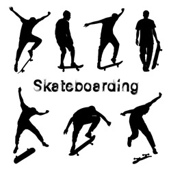 Big set of black skateboarder silhouettes. Skate trick ollie. Skateboarder is rides, pushes off the ground, jumping, standing on the board. Guy with the skateboard. Grunge style textured text.
