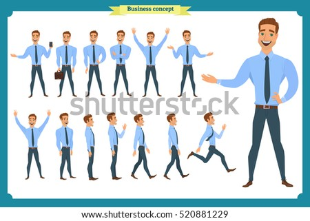 Big set of businessman character poses, gestures,actions.Isolated on white.Office worker professional standing,walking,talking on phone,working,running.businessman is in different situations.People