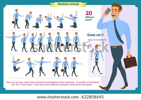Big set of businessman character poses, gestures,actions.Isolated on white.Office worker professional standing,Cartoon flat-style infographic illustration.businessman is in different situations.People